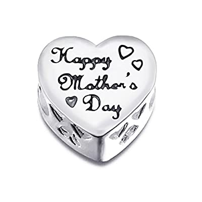 "925 Sterling Silver ""MOM HAPPY MOTHER'S DAY"" MOM Charm Bead with CZ Fits Pandora Charm Bracelet"