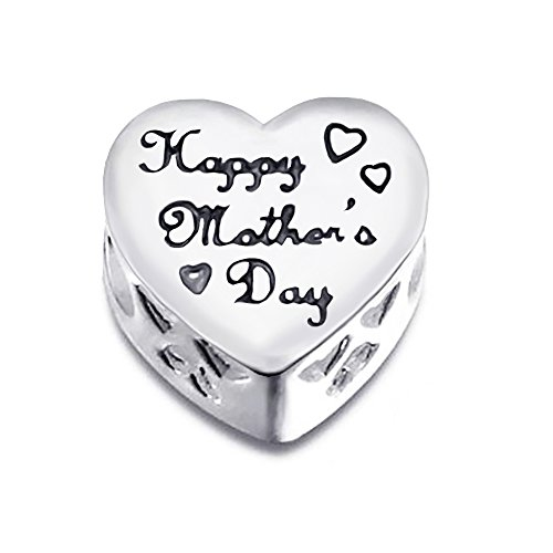 """925 Sterling Silver """"MOM HAPPY MOTHER'S DAY"""" MOM Charm Bead with Cz Fits Pandora Charm Bead Bracelet"""