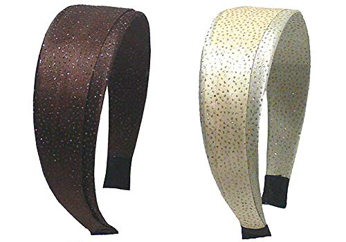 Set of 2 Wide Band Fabric Wrapped Headbands Star Flakes Shimmers YW3-2