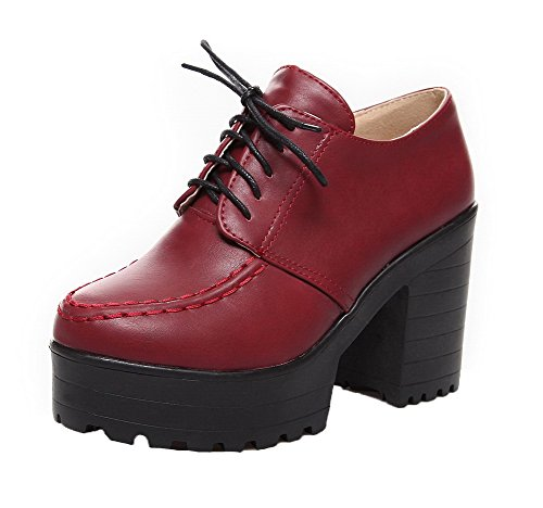 WeiPoot Women's PU Lace-Up Round Closed Toe High-Heels Solid Pumps-Shoes, Claret, -