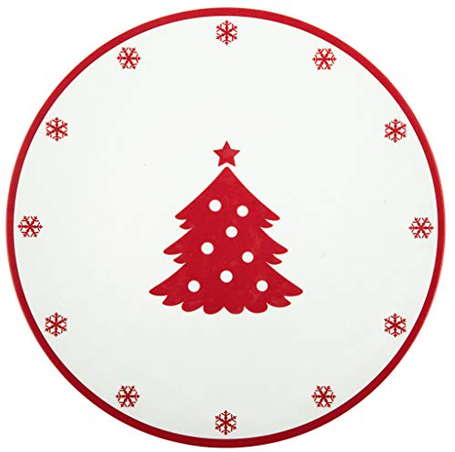 Plate Melamine 10.5 (Melange 608410091702 6-Piece 100% Melamine Dinner Plates Christmas Collection-Red Xmas Shatter-Proof and Chip-Resistant|, 10.5