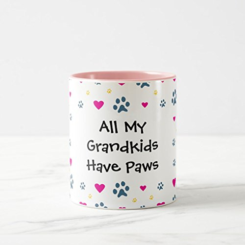 Zazzle All My Grandkids-grandchildren Have Paws Frosted Glass Beer Mug, Pink Two-Tone Mug 11 oz