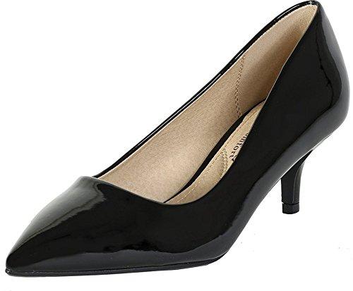 Cheap City Classified Women's Hailey Dress Pointd Toe Kitten Heel Pumps MVE Shoes Black Patent 7.5