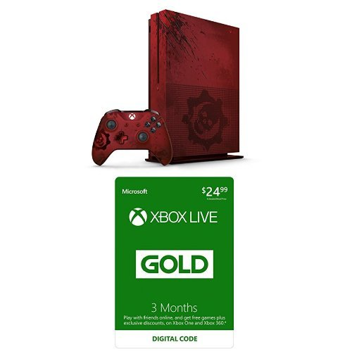 Xbox One S 2TB Console – Gears of War 4 Limited Edition + Xbox Live 3 Month Gold Membership Bundle