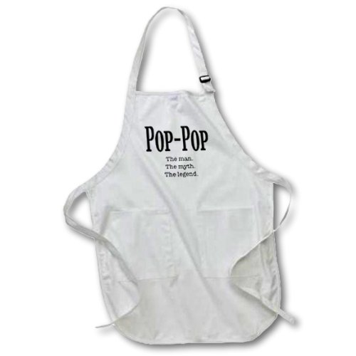 3dRose LLC apr_149789_1 22 by 30-Inch Apron with Pockets, Full, White, Pop-Pop The Man The Myth The Legend Grandpa Grandfather