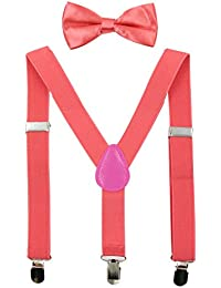 Kids Suspender Bowtie Sets Adjustable Suspender With Bow Ties Gift Idea For Boys And Girls