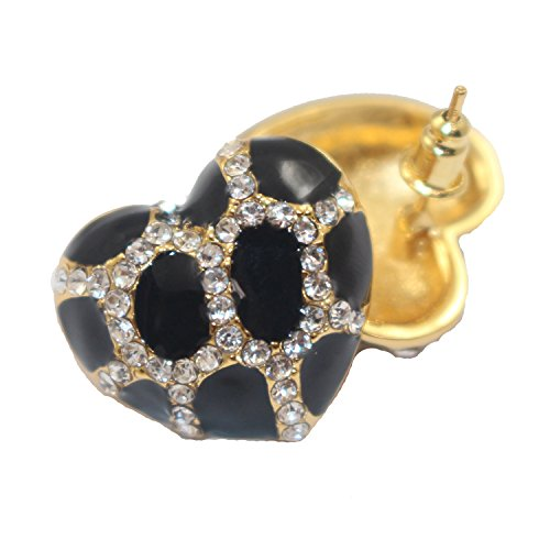 Studded Earrings Large Heart (Heart Stud Earrings with Studded CZ Diamond Pattern - Gold with Black - Pop Fashion)