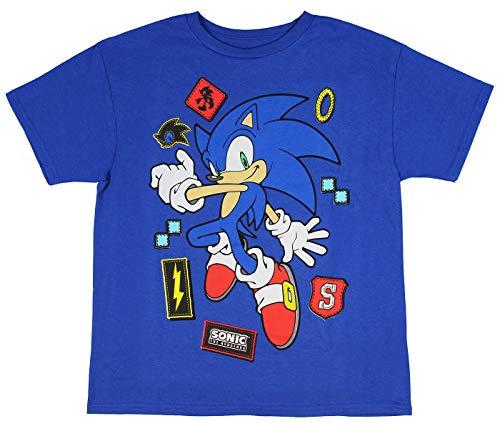 Sonic The Hedgehog Shirt Icons Sega Video Game Boys T-Shirt (Medium) Royal -
