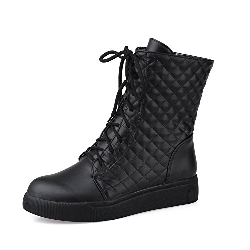 AllhqFashion Womens Soft Material Lace-Up Round Closed Toe Low-Heels Low-Top Boots Black y7nI7Rj