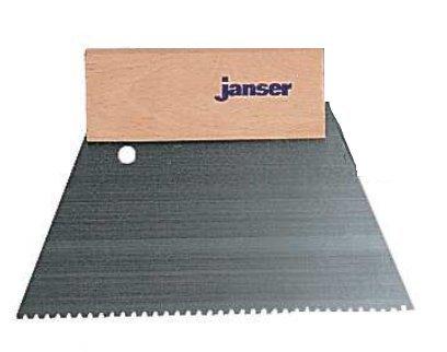 Janser A2 Adhesive Trowel / Spreader - Handle & Notched Steel Trowel - 18cm (Vinyl Flooring Hand Tool)