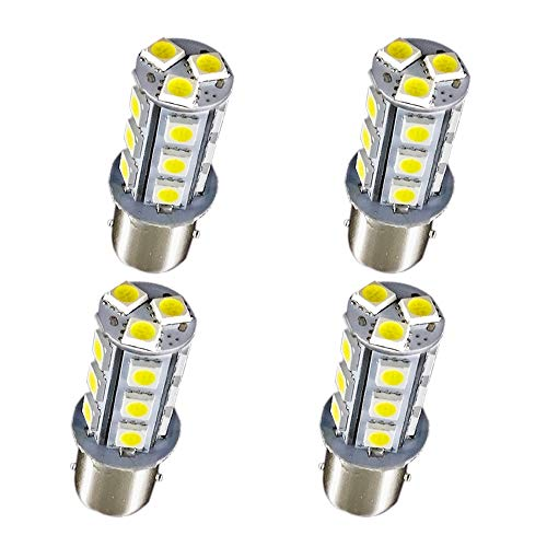 1157 Car RV Reverse LED Bulb - MuHize Super Bright 6000K White 5050 18SMD (Upgrade Version) DC 12V, Replacement BAY15D 1016 1034 Bulb, for Camper Tail Brake Backup Lights, 2 Years Warranty (Pack of 4)