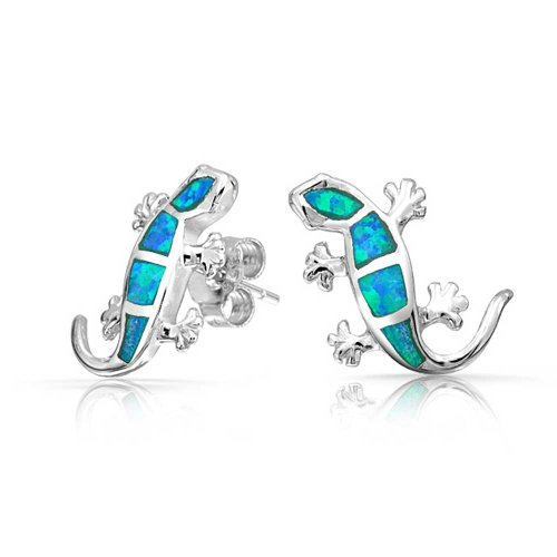 Blue Created Opal Inlay Garden Gecko Lizard Stud Earrings For Women 925 Sterling Silver October Birthstone