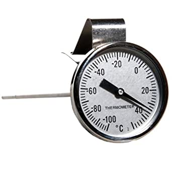 H-B Instrument Durac Traceable Bi-Metallic Dial Thermometer, Beaker Clip with Built-In Adjustment Tool, 44mm Dial, 200mm Probe Length, -10 to 110 Degrees C