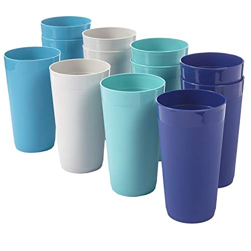Newport 20-ounce Unbreakable Plastic Tumblers | set of 12 in 4 Coastal Colors (Tumblers Plastic Stackable)