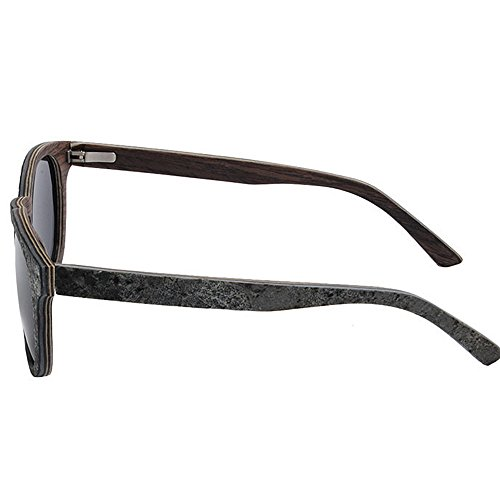gato UV TAC hombres Protección Ojos hechos Conducción de Peggy de Vintage Color Lens para Sunglasses Polarized de a de Gafas Marrón mano madera sol sol de gafas piedra Beach Gu Negro y BHwqt