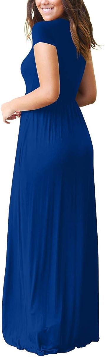osazic Women Short//Long Sleeve Loose Plain Casual Long Maxi Dresses with Pockets S-XXL