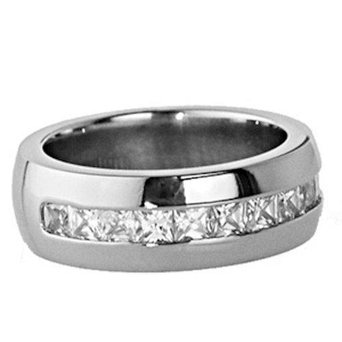 8mm Titanium Princess Shape Cubic Zirconia White Gold-Color Men's Comfort Fit Wedding Band Ring Size 9.5