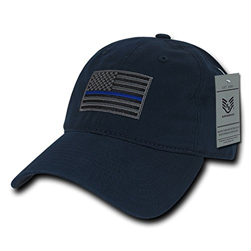American Flag Embroidered Washed Cotton Baseball Cap - Navy Blue TBL