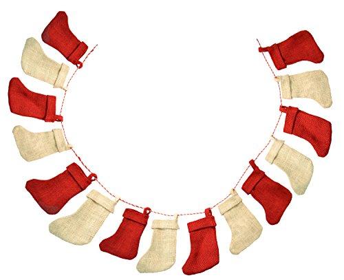 Firefly Craft 6 Foot Rustic Burlap Christmas Stocking Garland Banner, 15 Stockings||
