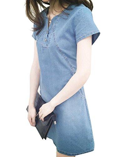 Coolred-femmes Lavaient Taille Plus Robe Midi Coton Denim Jour Été Bleu Clair