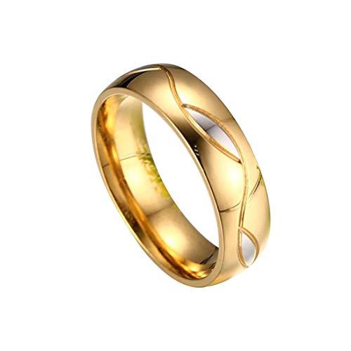 Kstare Rings Couple Gold Women Men Engagement Ring Yellow Gold Real Genuinetitanium Steel Jewelry Ring ()