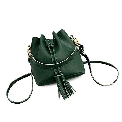 Pequeño y Tamaño Cordón Mano Mujer Verde Piel Bolso con Bolso verde Borla Cutowin sintética Cruzado de para xwqvgRn0A