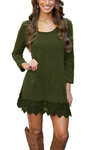MiYang Women's Long Sleeve A-line Lace Stitching Trim Casual Dress S Army Green