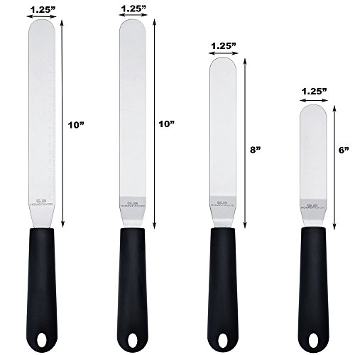 """Straight & Angled Icing Spatula Set of 4 Stainless Steel Offset Spatulas Cake Decorating Supplies with Scale (Length 11.2""""- 13.2""""- 15.2""""- 15.5"""") by G.a HOMEFAVOR (Image #1)"""