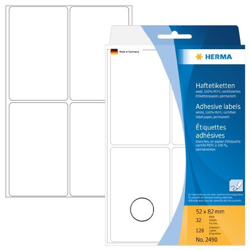 HERMA 2490 Multi-Purpose Labels 52x82 mm White Paper matt Hand Inscription 128 pcs.