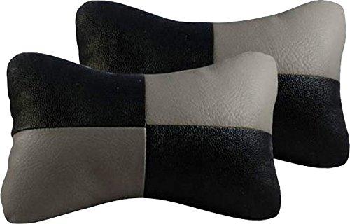 Autokraftz Neck Cushion Set (Black and Grey, Pack of 2)
