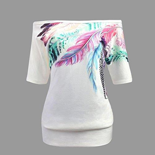 Mode Casual Chemisier Tops La Loisirs Skew Vest Blanc Automne Dcontract Gilet Manches Chemises Imprim Plume Femme Lache Chic Shirt Blouse Lady T Col Taille Courtes Plus wTqx1X0B