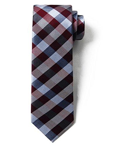 Burgundy Designer - Origin Ties Fashion Gingham Plaid Men's Silk Skinny Tie Burgundy