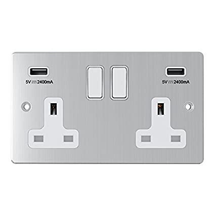 AET CPC2GUSBBC Polished Chrome Classical 2 Gang Socket w Charging Ports Black Insert Metal Rocker Switches-13 Amp Double Plug Socket /& Dual USB Power Outlet