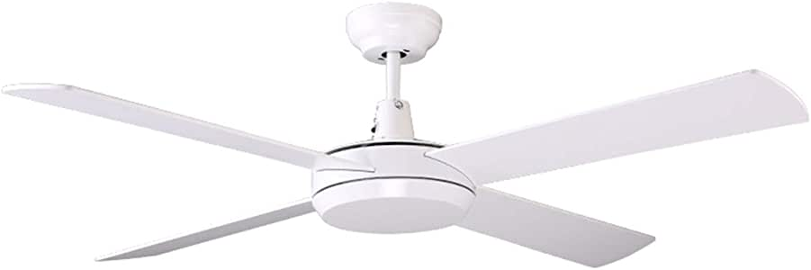 """7PANDAS 52"""" (1320mm) Morden White Ceiling Fans with Wall Control, AC Motor 4 Reversible Blades 3 Speed, White"""