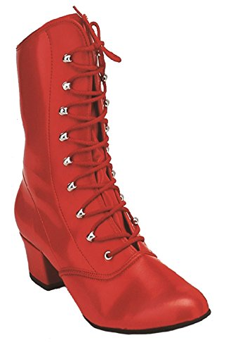 rot Leder geschnürt CanCan Rot 36 Damen weiss oder Tanzstiefel 43 Karnevalstiefel Kochmann qIxC5w8C
