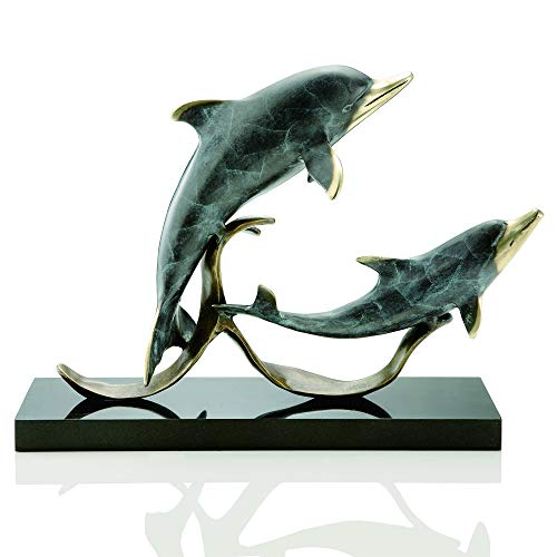 Bella Coastal Decor Playful Dolphin Duo Sculpture ()