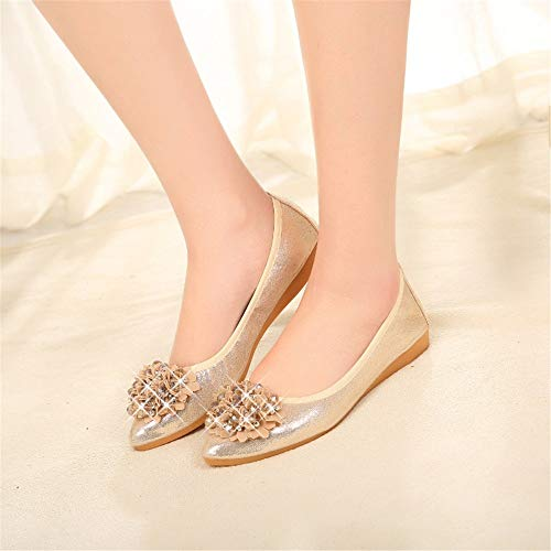 mouth comfortable slip ballet single bottom shallow pointed shoes shoes soft non collapsible FLYRCX EU maternity flat shoes rhinestones 42 shoes Ms nqSIXI