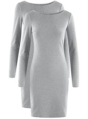 2 oodji Moulante 2300m Femme Robe de Ultra Lot Gris xYr4F7wYqf