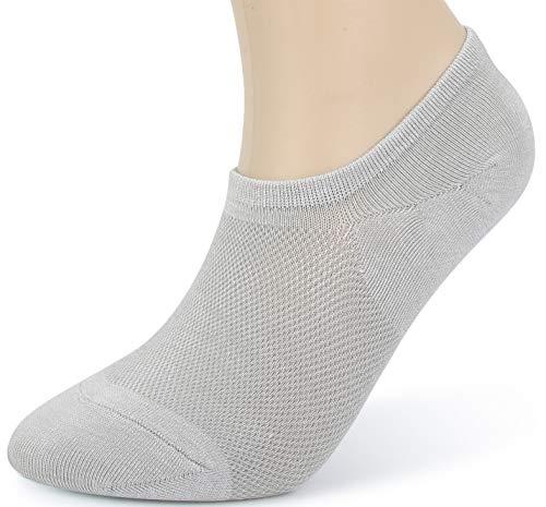 Leotruny Women's 6 Pairs Bamboo Mesh Design Low Cut Non Slip No Show Socks (C04-Black/White/Light Grey, Women Shoe Size: 6-9)