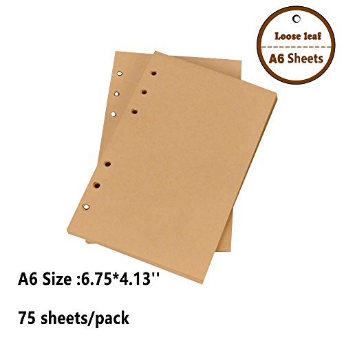 Refill Craft Paper,Perfect for A6 Travel Journals Notebooks Diaries,6-Holes,75 Sheets,150 Pages