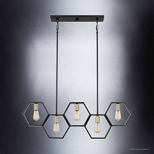 Luxury Industrial Chandelier, Large Size 13 H x 40 W, with Geometric Style Elements, Natural Black Finish, UQL2771 from The Venezia Collection by Urban Ambiance