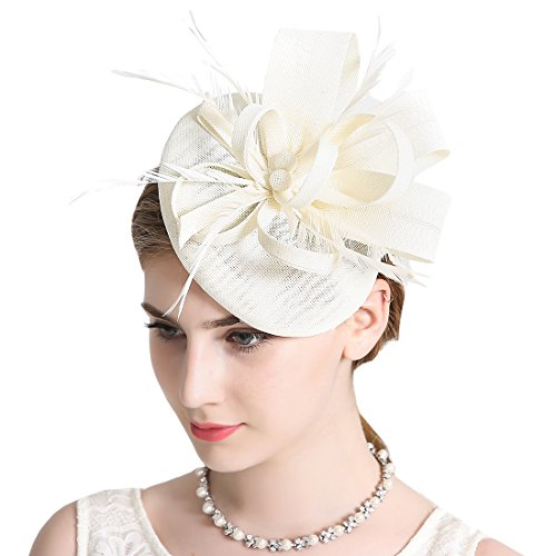 Sinamay Feather Fascinators Womens Pillbox Flower Derby Hat for Cocktail Ball Wedding Church Tea Party Ivory Color by Free Yoka