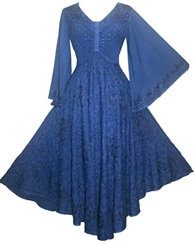 206 DR Agan Traders Medieval Peasant Butterfly Dress [ Navy Blue; Large]