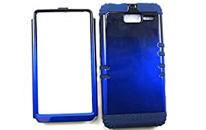 SHOCKPROOF HYBRID CELL PHONE COVER PROTECTOR FACEPLATE HARD CASE AND DARK BLUE SKIN WITH STYLUS PEN. KOOL KASE ROCKER FOR MOTOROLA DROID RAZR M XT907 TWO TONE BLACK BLUE DB-A005-ICG