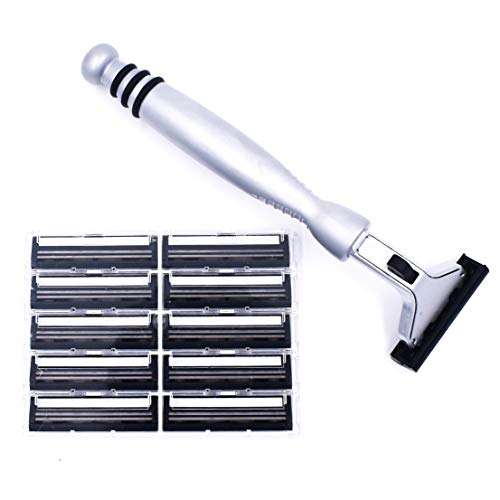 All Metal Heavyweight Chrome ATRA Compatible Twin Blade Razor & 10 Personna Pivot Plus - Head Pivoting Razor