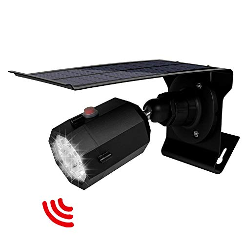 Solar Motion Sensor Light Outdoor 500Lumens 10 LED Spotlight 5-Watt Solar Lights Outdoor IP66 Waterproof Wireless Solar Flood Light for Pathway Porch Garden Patio Driveway Black