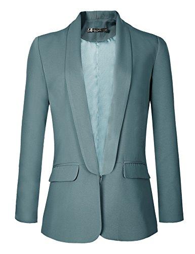 Urban CoCo Women's Office Blazer Jacket Open Front (S, Lake Blue)