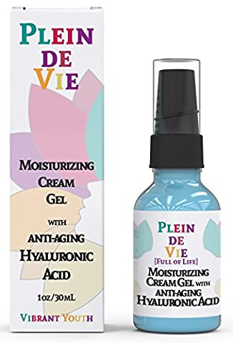 Plein de Vie (Full of Life) Hyaluronic Acid Anti Aging Cream for Skin- 100% Natural Ingredients for Enhanced Moisturization - Intense Hydration + Moisturizer - Plumps and Hydrates by Vibrant - Hydra Intense Hydrating Gel Mask