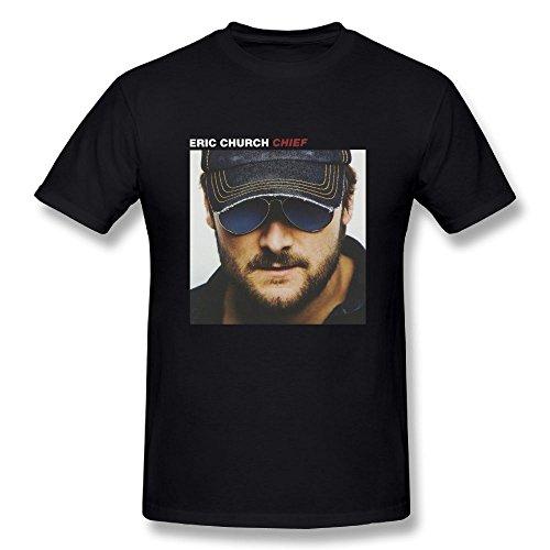 JohnHA Men's Eric Church Chief Classic T-Shirts Black XXL by John H. Alston