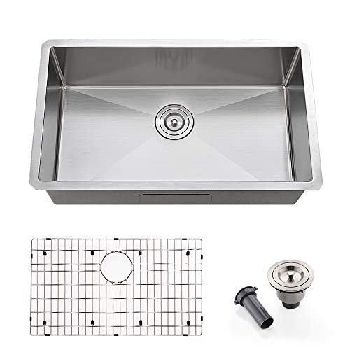 VOKIM 30 Inch Single Bowl Undermount Kitchen Sink 16 Gauge10 Inch Deep Stainless Steel Kitchen Sink
